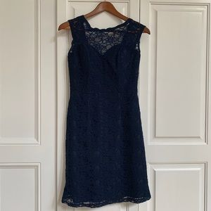 Navy lace cocktail dress